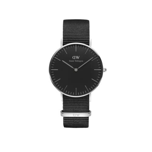 Classic Black Cornwall Nato Lady Watch Silver 36 mm