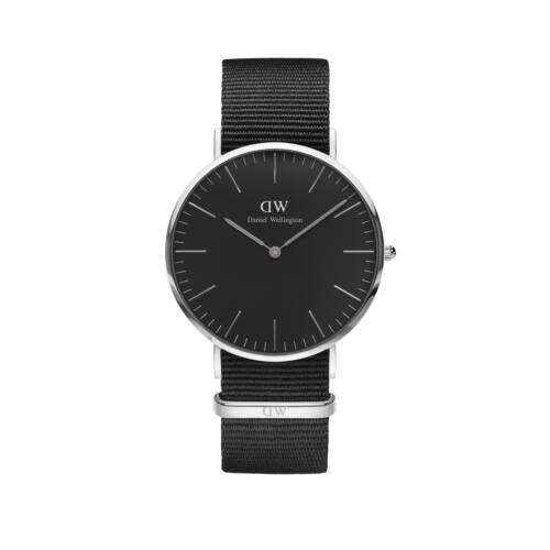 Classic Black Cornwall Nato Man Watch Silver 40 mm