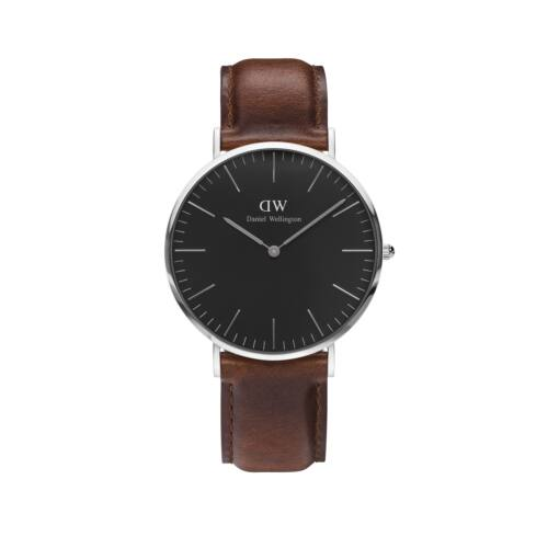Classic Black St.Mawes Man Watch Silver 40 mm