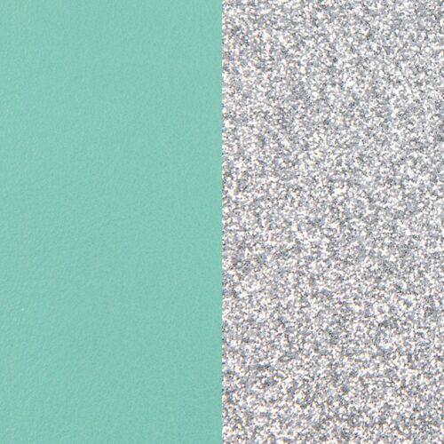 Aqua/Silver Glitter bőr 14 mm